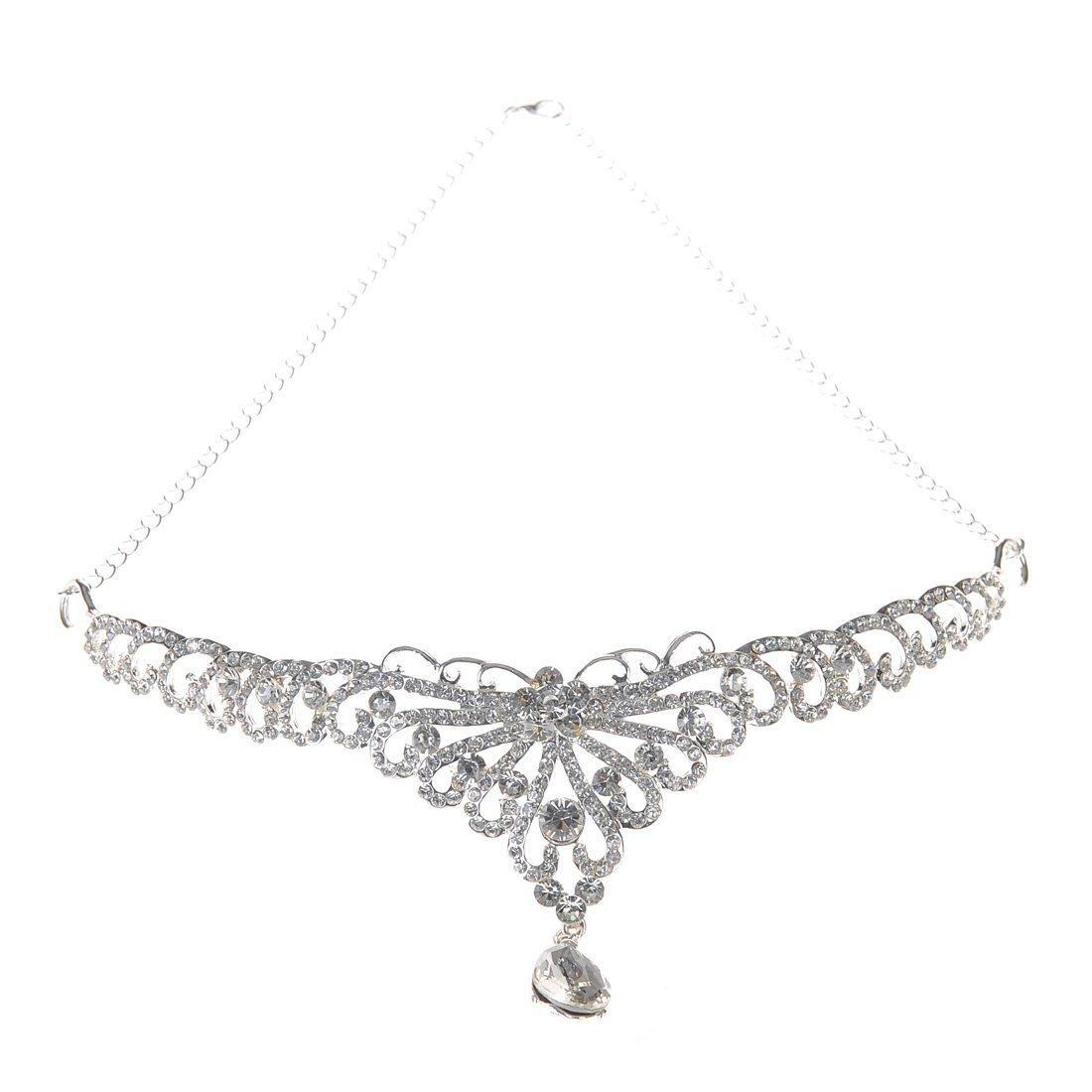 Topwedding Crystal Rhinestone Wedding Bridal Tiara Crown Headpiece forehead Chain