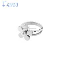 Stainless Steel Fashion Jewelry Flower Pearl Ring Designs