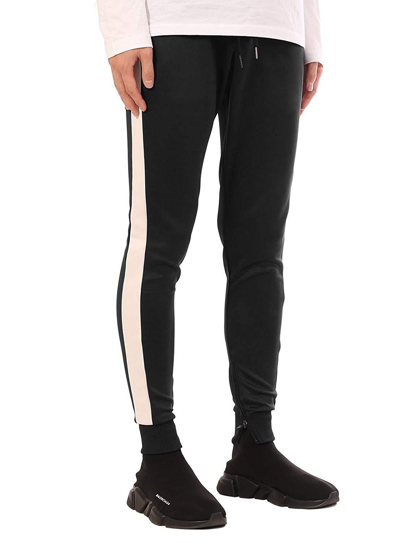 7c735723d9 Get Quotations · JD Apparel Men's Stripe Track Pants Skinny Fit Stretch  Casual Elastic Athletic Slim Joggers