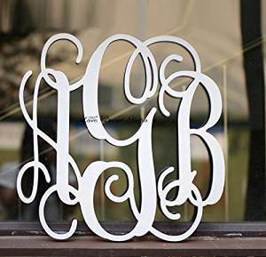 get quotations 6 18 inches pvc monogram letters vine font unpainted custom wall hanging monogram