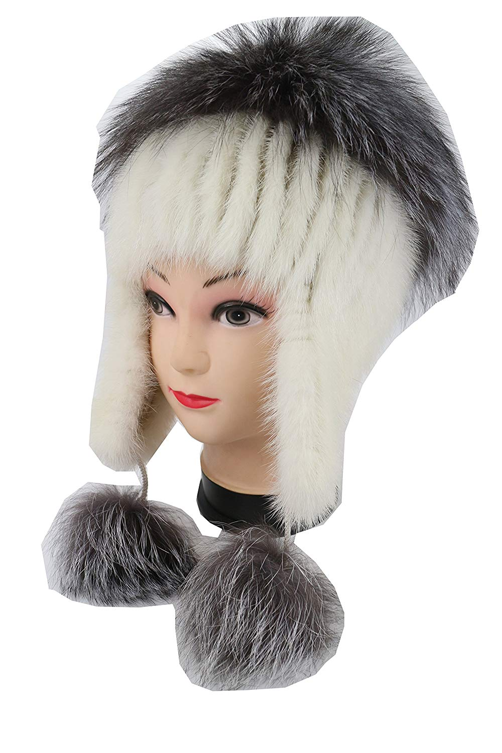 Ysting Real Knit Mink Fur Hat Silver Fox Fur Pom Ear Protection Cap Fur Beanie
