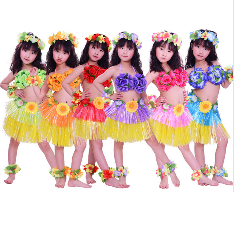 Amazon Hawaiian Party Adult Children Dancing Costumes Hawaii Hula Grass