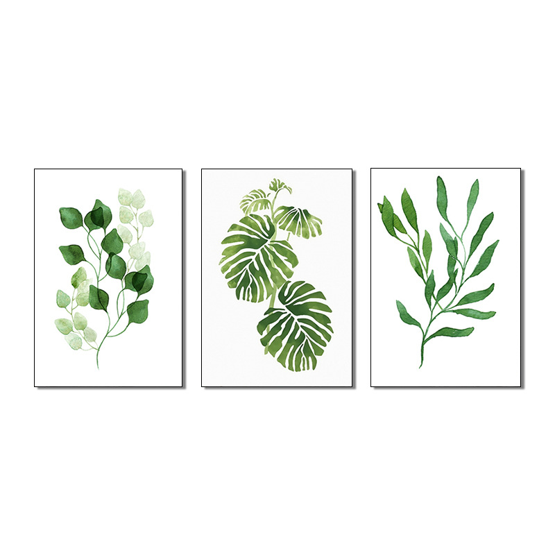 3 Pieces Fresh Green Leaf canvas Canvas Printing Picture Modern Abstract Painting Wall Art for Home Decor