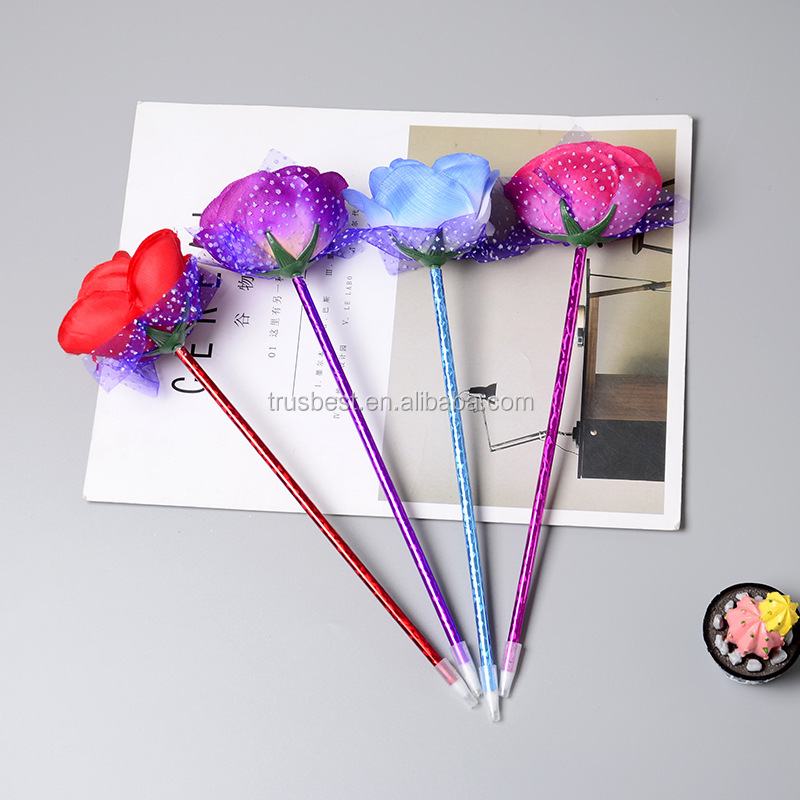 rose ballpoint pen New creative flower decoration beautiful office stationery personalized Valentine's Day wedding gift