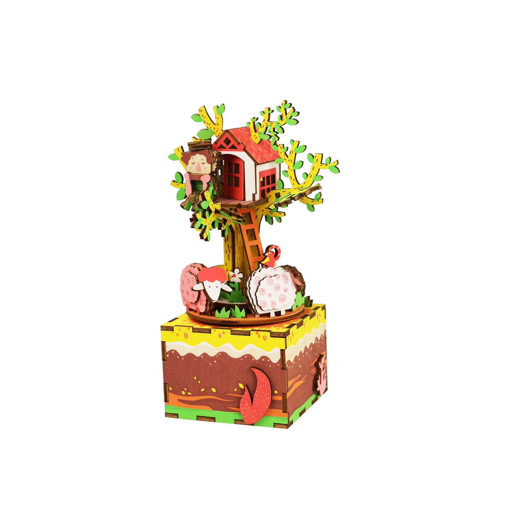 Hands Craft AM408 3D Wooden Puzzle-DIY Hand Crank Music Box-Tree House Educational Toy-Plays TALES FROM THE VIENNA WOODS- Perfect Gift for Christmas, Birthday, Baby Shower, Valentines, Mother's Day.