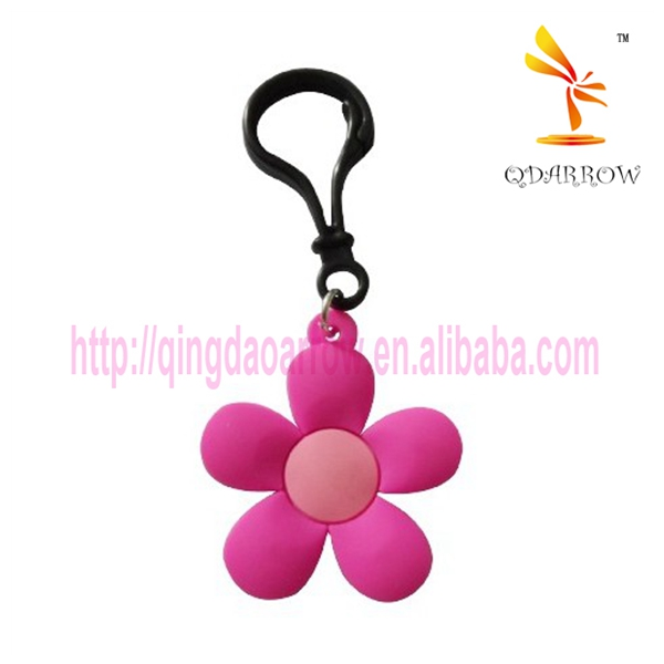 High quality gift custom flower pvc keychain