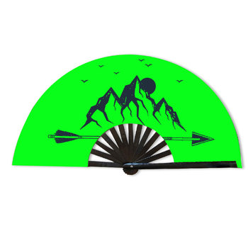 bamboo products wholesale UV glow custom logo hand held fan for festivals