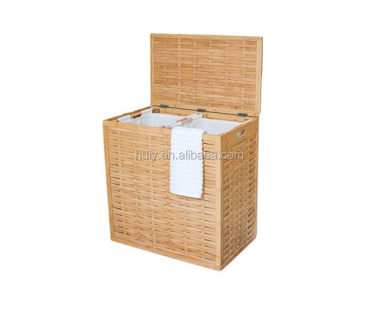 e6012e6608f64 تصميم المنزل الفاخرة الخيزران الخشب ملابس الغسيل تعرقل سلة-حقائب ...