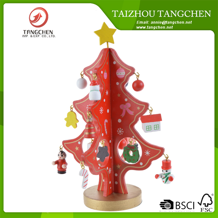 Mini Wooden Artificial Christmas Tree Festival Ornaments Xmas Decoration Gift