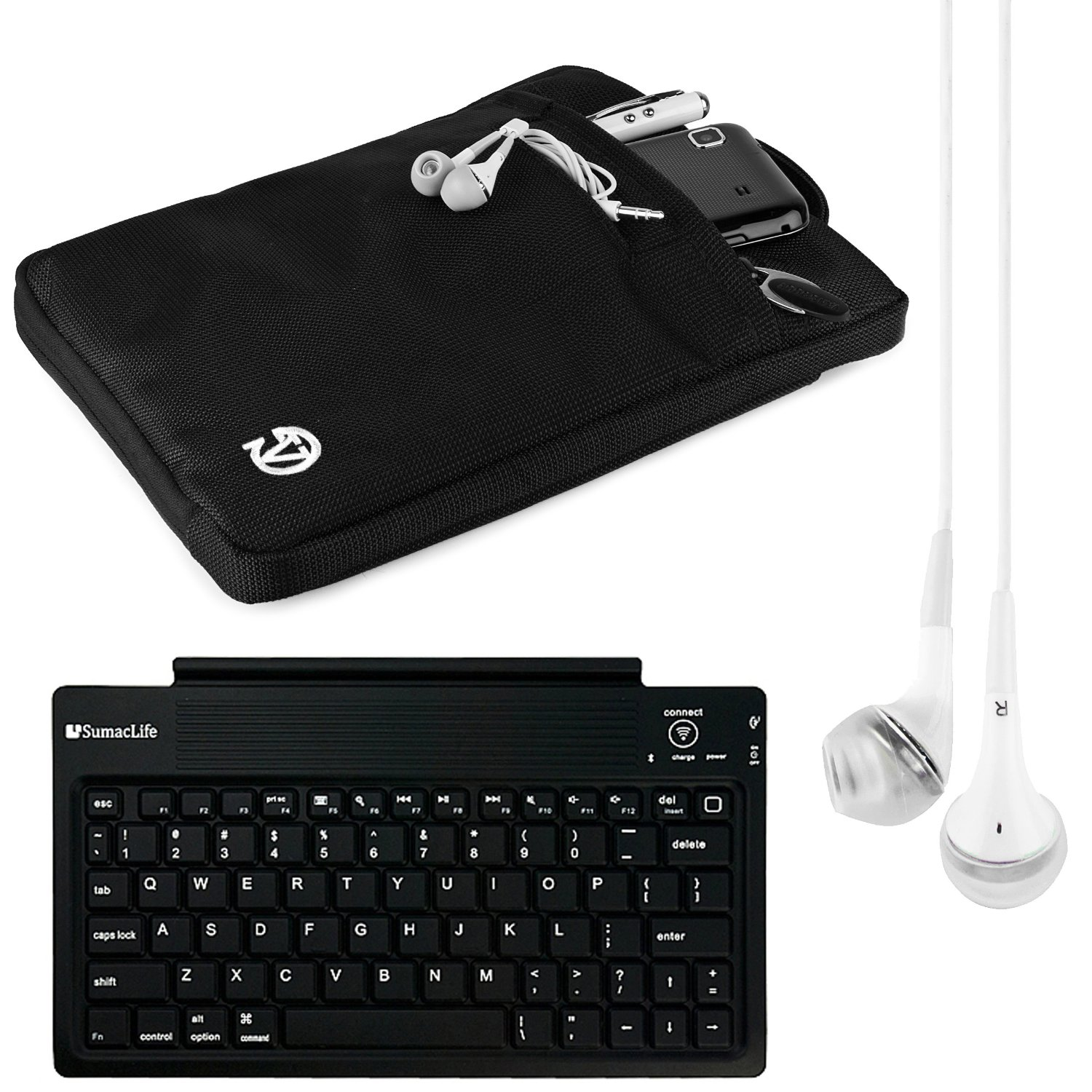 VanGoddy Hydei 7 to 8-inch Tablet Sleeve for Visual Land Prestige with Bluetooth Keyboard & White Headphones (Black)