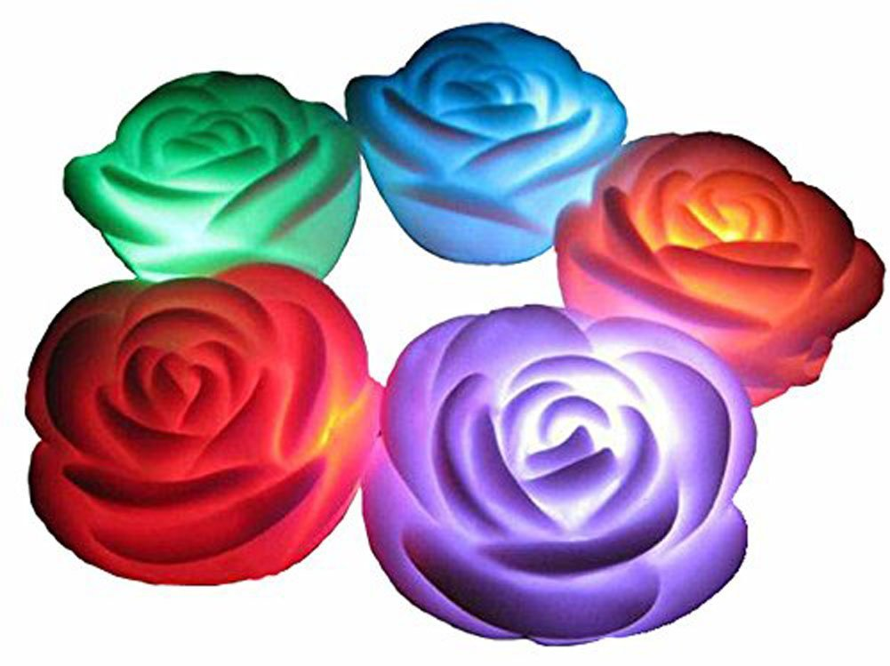 2Pcs Romantic 7 Color Changing LED Rose Flower Night Lights Lamp Wedding Party Decoration Candle lights Make a Wish Lights