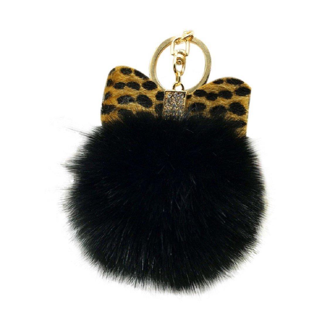 Egmy Leopard Bow Fluffy Faux Rabbit Fur Ball Bowknot Charm Car Keychain Handbag Key Ring (Black)