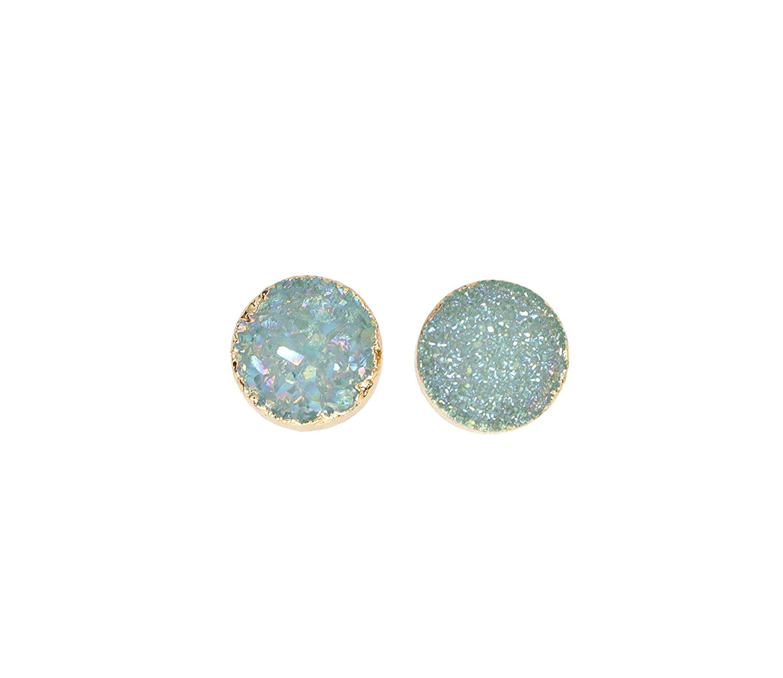 Light Blue Druzy Stud Earring Genuine druzy quartz gemstone sky blue-8mm