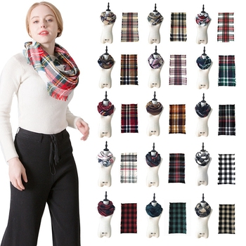 Wholesale Custom Tartan Plaid Infinity Fringe Acrylic Scarf Winter Scarf Women