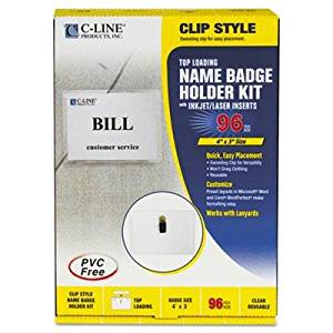 """C-Line - Badge Holder Kits Top Load 3 X 4 White Clip Style 96/Box """"Product Category: Labels Indexes & Stamps/Identification Badges"""""""