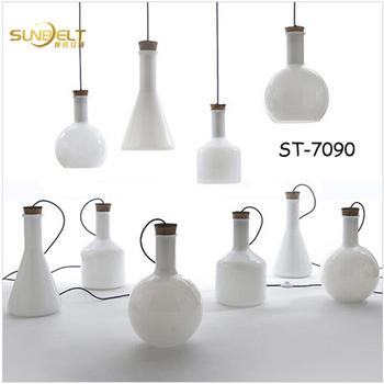 ST 7090 3 Sunbelt Mana Flasche Glas Pendelleuchte, Milch Weiß Glas Lampe,