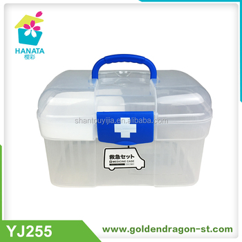 First Aid Clear Container Bin / Family Emergency Kit Storage Box With  Detachable Tray