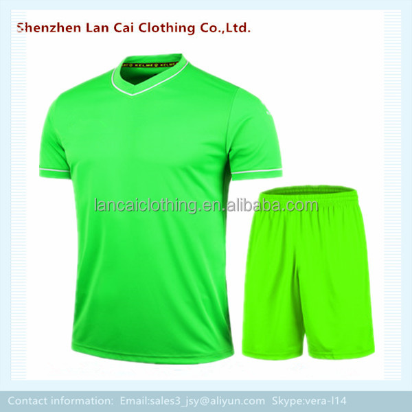 customize blank soccer t shirt and pants plain dye football jersey set