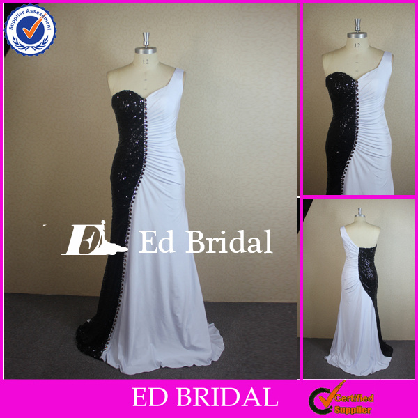 CN320 Real Picture Affordable Price One Shoulder Black And White Evening Dresses