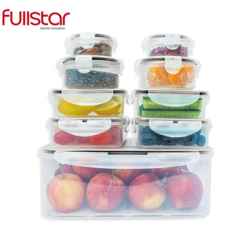 Fullstar plastic Food Storage Box with Lids - Airtight Leak Proof Easy Snap Lock and BPA Free Clear Plastic Container Set
