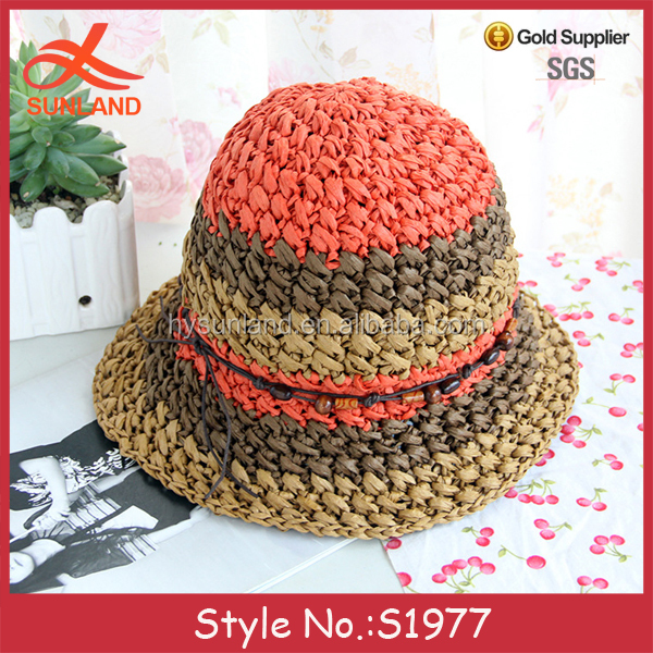 S1977 latest design handmade frayed edged multi color straw hats foldable sun hats with wooden beads wholesale