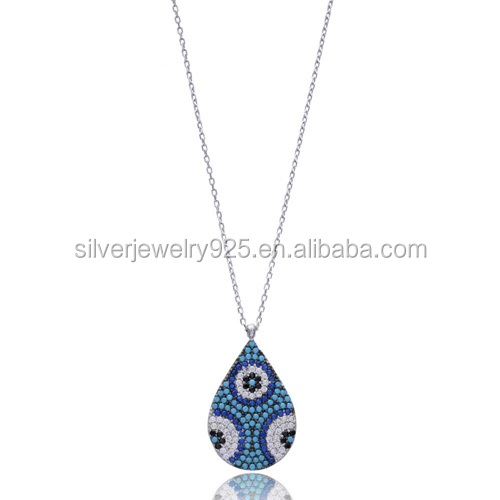 Silver turkish jewelry wholesale 925 black stone nano cz evil eye necklace