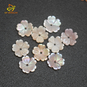 Carved Flower Natural Pink Mother of Pearl