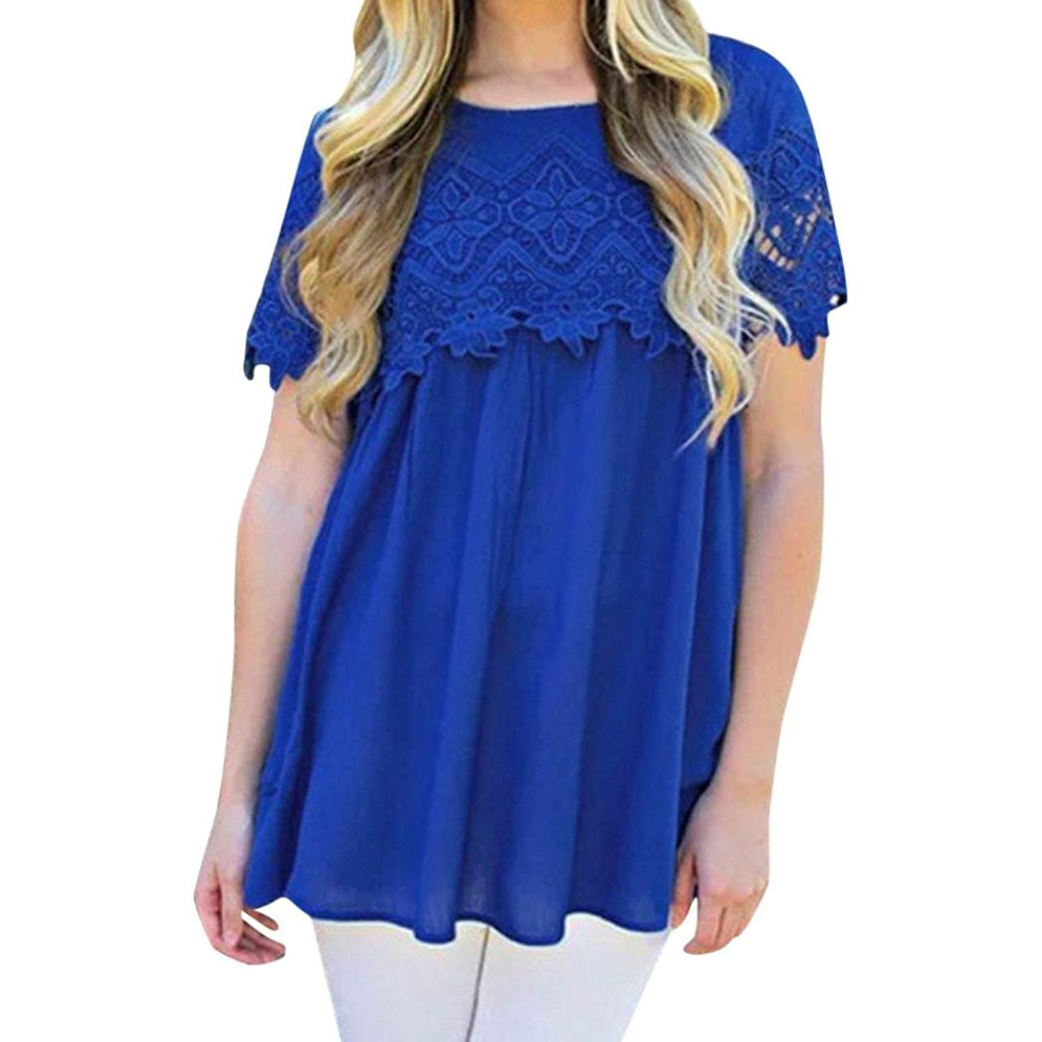 Siaokim Tops For Women Hot Sale Women Tunic Tops Summer Casual Solid Lace O Neck T-Shirt Short Sleeve Loose Blouse