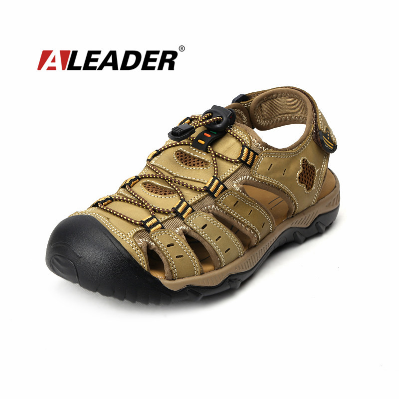 Aleader Mens Leather Outdoor Sandals New 2015 Summer Outdoor Shoes Sport Sandals Men Breathable Beach Slippers