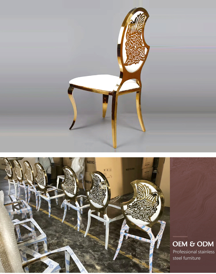 Romantic wedding stainless steel golden banquet chair semi moon shape gold steel hotel wedding chair for sale