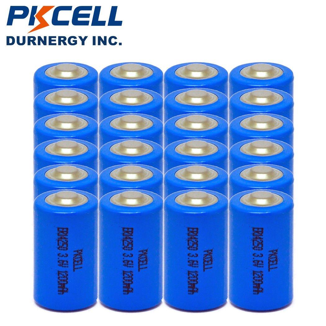 1/2AA Size ER14250 Lithium Batteries (3.6V & 1200 mAh), 24 pack