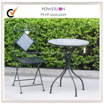 Tavoli Da Giardino In Ferro Battuto E Mosaico.All Aperto Cortile 1 Tavolo E 2 Sedie Per Il Tempo Libero Insieme