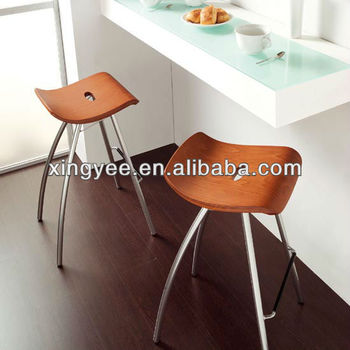 Modern Bar Furniture Home Goods Brushed Stainless Steel Bar Stools  Wholesale Bentwood Stool Kitchen Counter Backless
