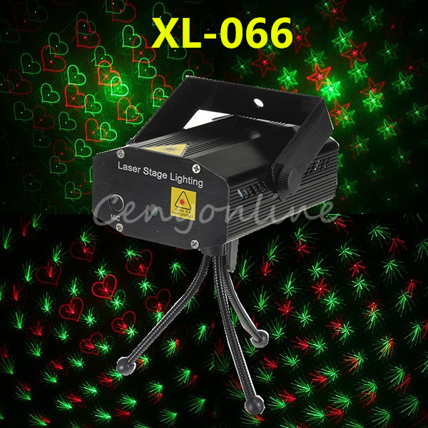 XL-066 4 In 1 Mini Voice Automatic Control R&G Laser Projector Light Lighting Disco Stage Xmas Party Show Club Star Bar + Tripod