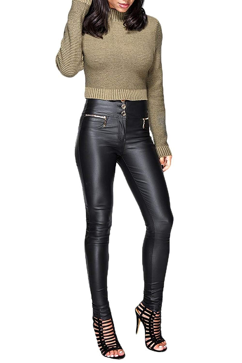 d740d4f0ff Shelikes Womens Sexy Wet Faux Leather Look Shiny PU Stretch High Waisted  Skinny Slim Fit Jeans