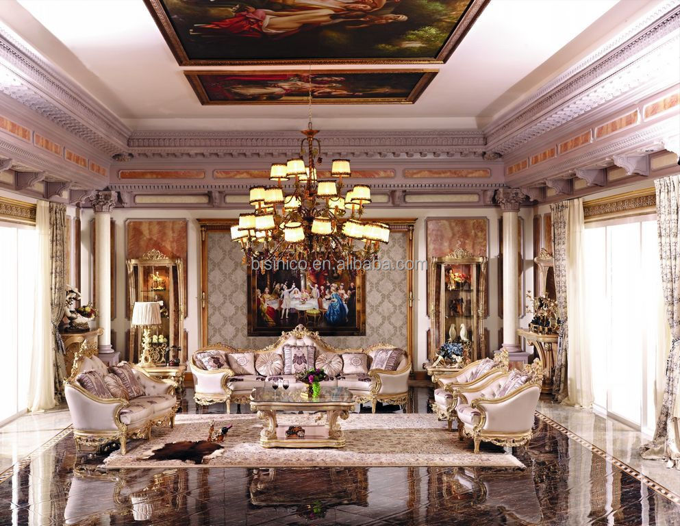 Luxury French Baroque Bright Color Living Room Sofa Set/Royal Palace Hand  Carved Fabric Sofa Part 57