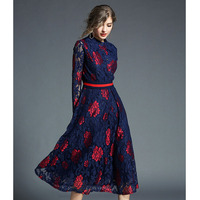 Hot sale guipure lace long dress for women