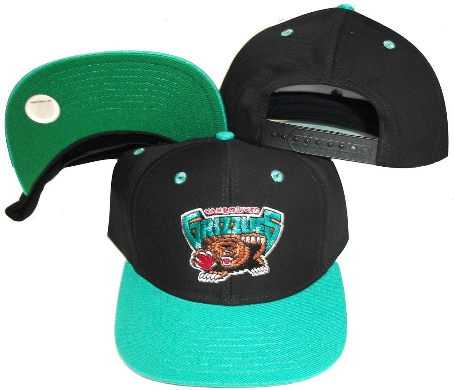 cb1b6af1319 Get Quotations · Vancouver Grizzlies Black Teal Two Tone Snapback  Adjustable Plastic Snap Back Hat   Cap