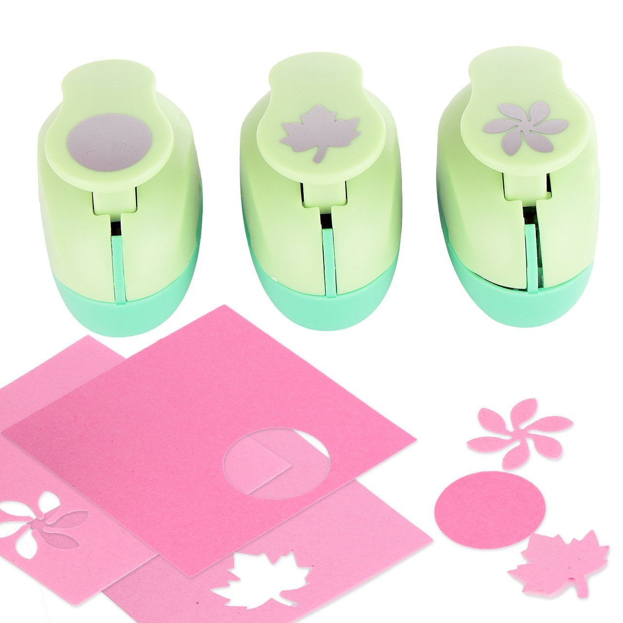 Paper Punch Hole Puncher -- (3 PACK Circle Maple Leaf Retro Flower) -- Personalized Paper Craft Punchers Shapes Set -- For Scrapbook Engraving Kids Artwork -- Greeting Card Making DIY Crafts