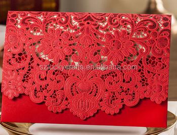 2016 Hot Red Laser Cut Wedding Invitation Card Indian Pocket Envelope Cover Favor