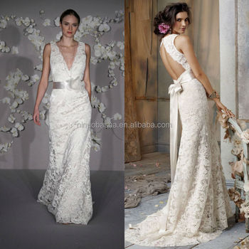 Hot Sale 2015 Lace Overlaid Sheath Patterns Wedding Dress V-neck ...