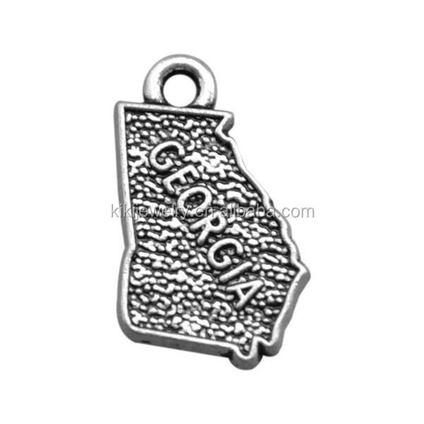 Free Shipping Zinc Alloy Antique Silver Plated Vintage Georgia State Map Charms