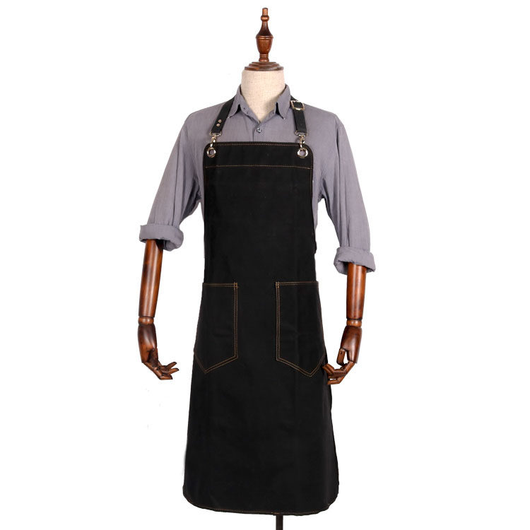 China water resistant waxed canvas long black work apron manufacturer