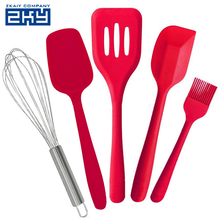 Lifestyle Silicone 5 Pcs silicone Kitchen Utensils Set Heat Resistant Set Includes Spatula, spoon, brush