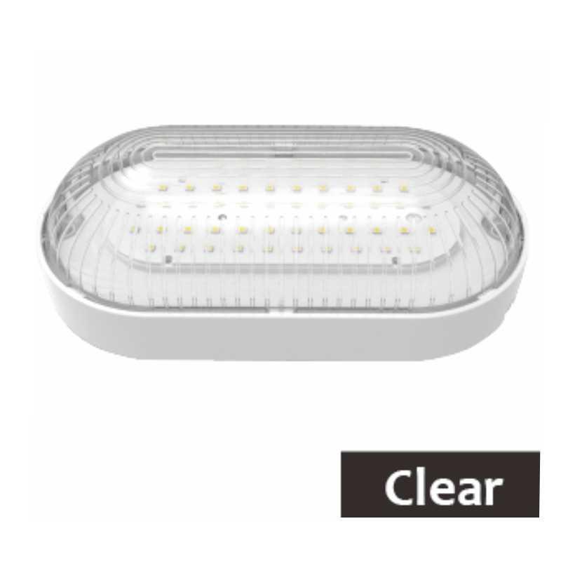 LED Oval Die Cast Bulkhead Black 8 Watt 6000K Wall Light IP44 Lighting Opal PC
