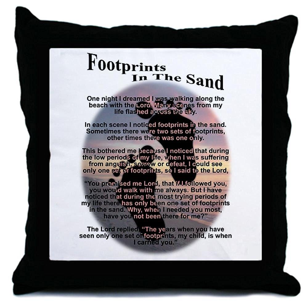 CafePress - Footprints In The Sand Throw Pillow - Throw Pillow, Decorative Accent Pillow