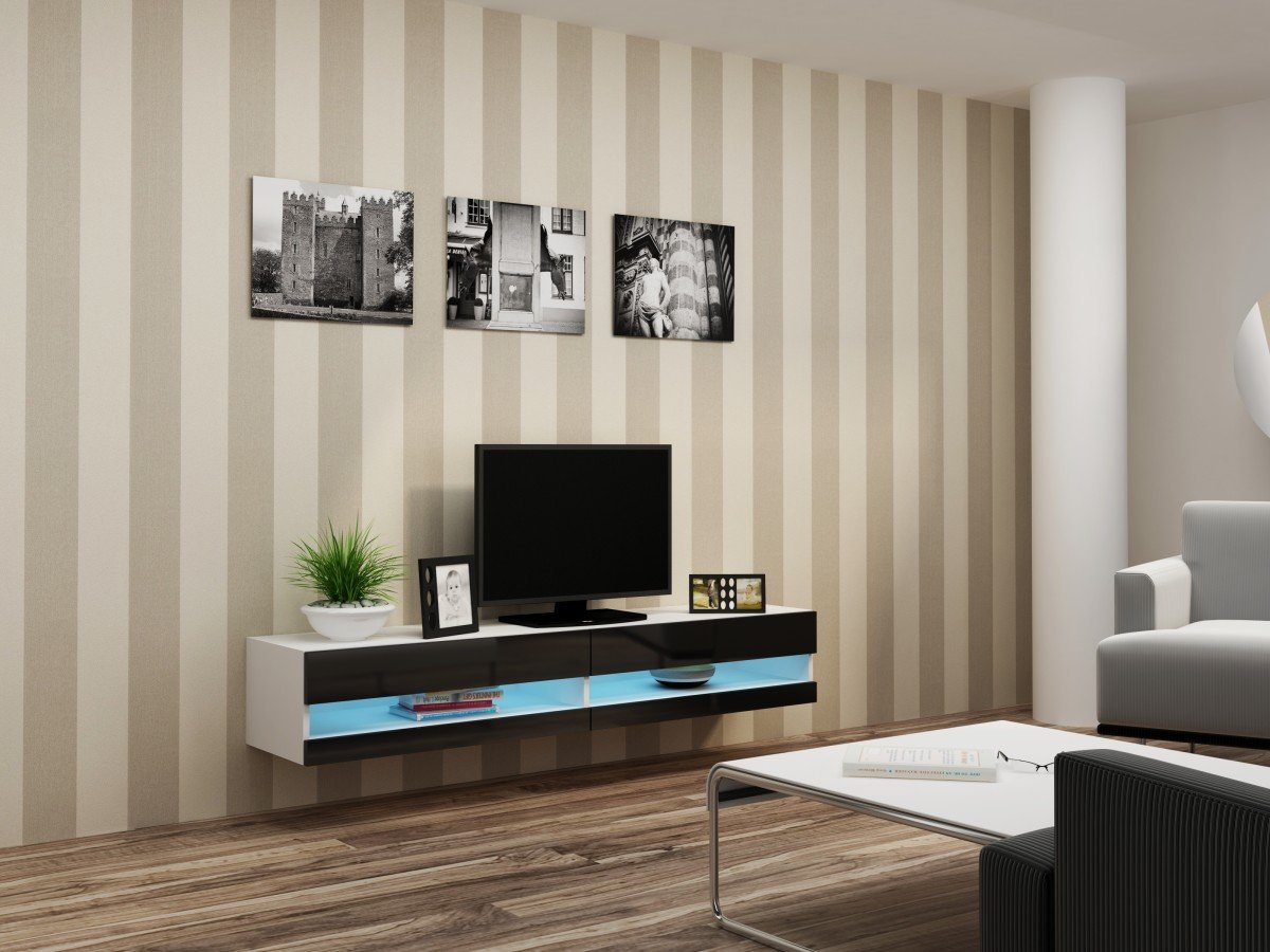Concept Muebles 80 Inch Seattle High Gloss LED TV Stand - Black & White