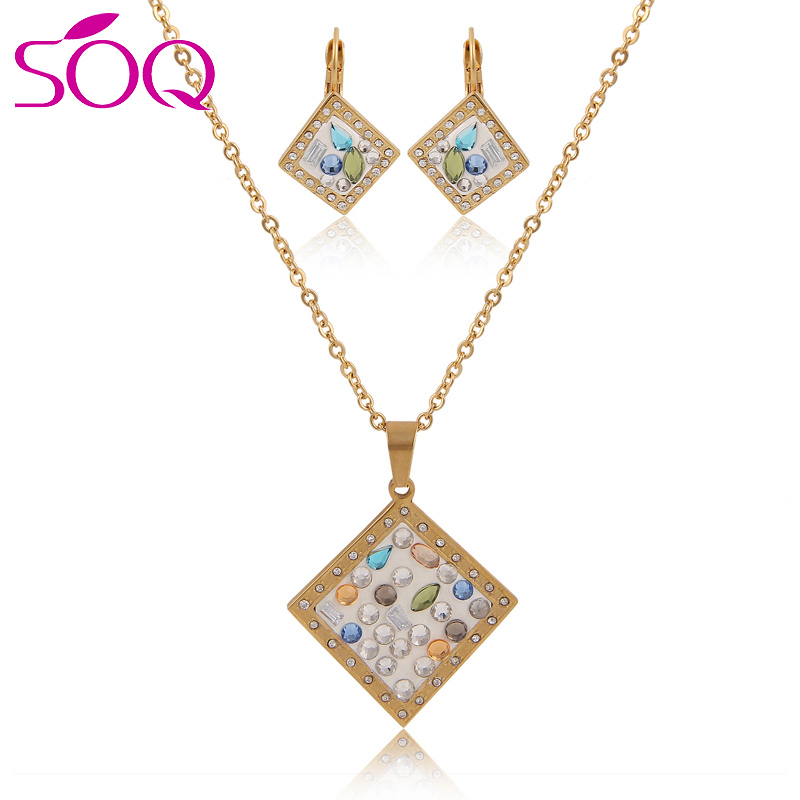 New Design Gold Plated Stainless Steel Square Mesh Pendant Earring Jewelry Set