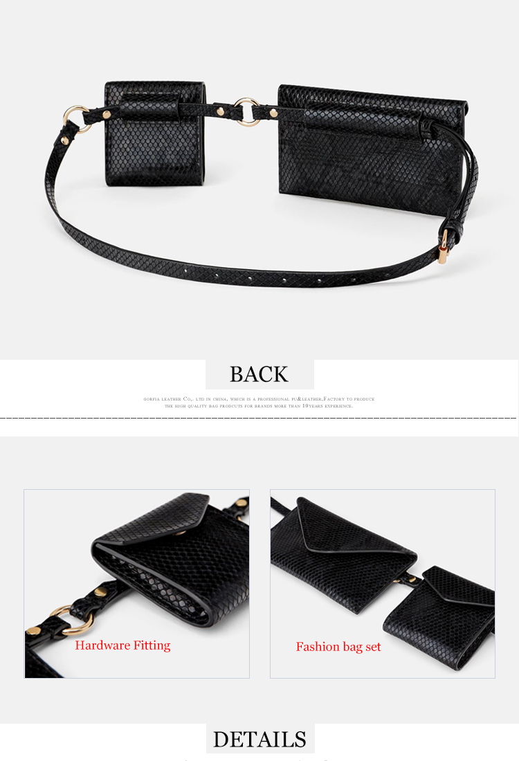 Customized black snake animal print leather ladies fanny pack women waist bag belt wallet set
