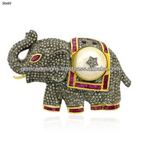 pave diamond elephant charm pendant, natural ruby & seed pearl designer brooch jewelry